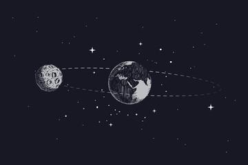 Fototapeta na wymiar moon orbits the planet earth in its orbit