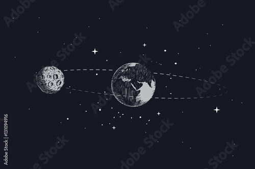 Obrazy na płótnie Canvas moon orbits the planet earth in its orbit