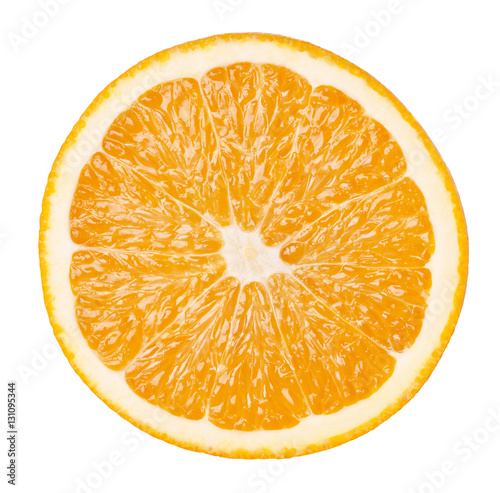 Foto op Aluminium Vruchten Slice of orange fruit isolated on white