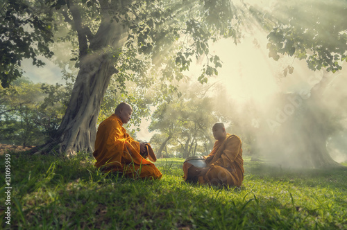Foto auf AluDibond Buddha Two monks meditation under the trees with sun ray, Buddha religi