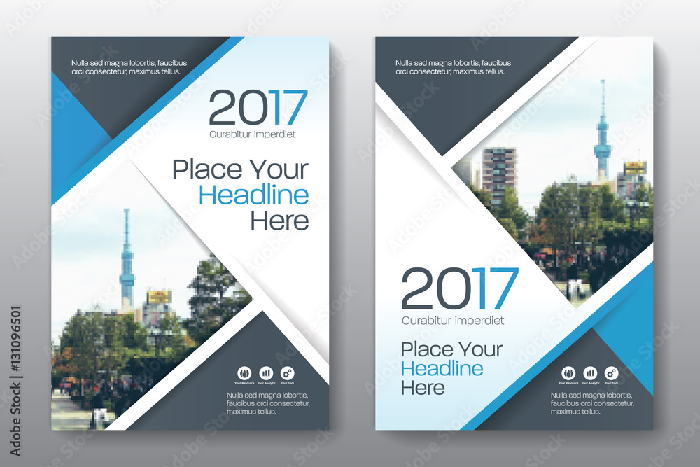 Fototapeta Blue Color Scheme with City Background Business Book Cover Design Template in A4. Easy to adapt to Brochure, Annual Report, Magazine, Poster, Corporate Presentation, Portfolio, Flyer, Banner, Website.