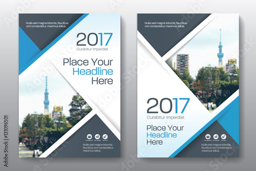Obraz Blue Color Scheme with City Background Business Book Cover Design Template in A4. Easy to adapt to Brochure, Annual Report, Magazine, Poster, Corporate Presentation, Portfolio, Flyer, Banner, Website. - fototapety do salonu