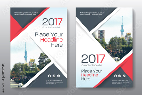 Red Color Scheme With City Background Business Book Cover Design Template In A4. Easy To Adapt