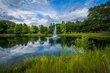 Fountain And Lake At Symphony Park, In Charlotte, North Carolina