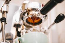 Fresh Morning Espresso Coffee Pouring Through The Bottomless Portafilter