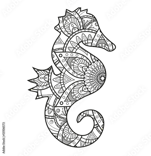 Vector illustration of a black and white seahorse mandala for Immagini cavalluccio marino