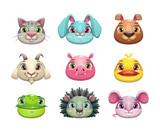 Fototapeta Fototapety na ścianę do pokoju dziecięcego - Cute cartoon animal face icons set