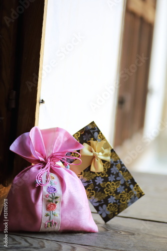 happy new year image of Korea,lucky bag and gift envelope,신년,복주머니 Poster