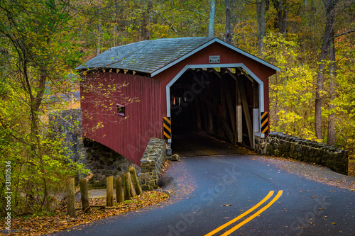 Red Covered Bridge in the Lancaster County Park Wallpaper Mural