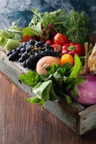 Fresh local vegetables and greens in crate