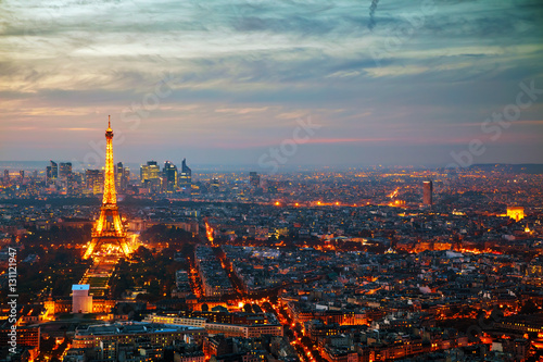 Poster de jardin Paris Cityscape of Paris with the Eiffel tower