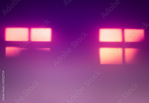 Two Pink Windows Silhouettes Bokeh Background Buy This Stock