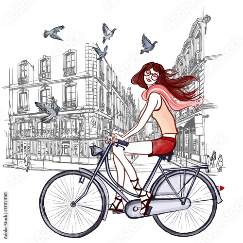 Printed kitchen splashbacks Art Studio woman riding a bicycle in Paris