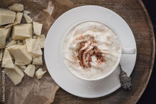 Spoed Foto op Canvas Chocolade Heiße Schokolade mit Sahne
