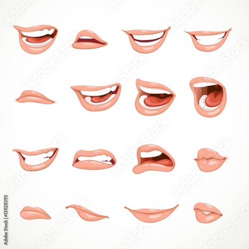 Photo Female's mouth to express different emotional states objects iso