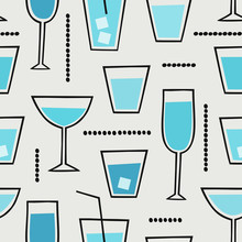 Modern Seamless Pattern With Cocktail Drinks In Blue, Black And Cream.