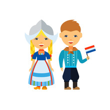 Dutch Couple In National Dress Icon