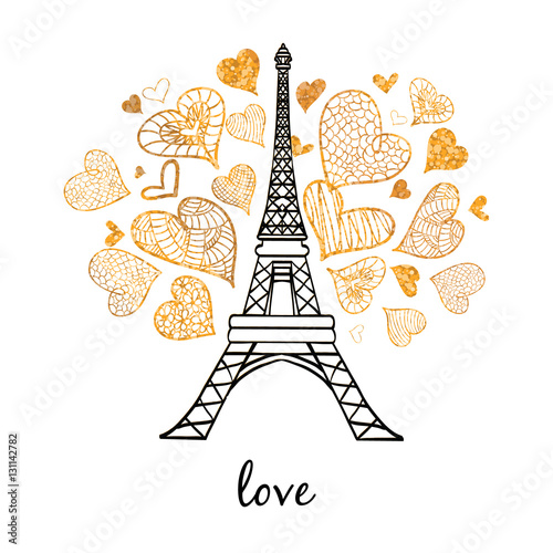 Poster Doodle Vector Eifel Tower Paris Bursting With St Valentines Day Golden Hearts Of Love. Perfect for travel themed postcards, greeting cards, wedding invitations.