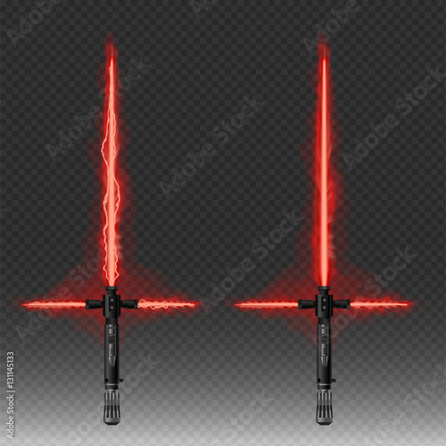 Photographie  Fantastic weapons vector illustration in red and blue colors isolated
