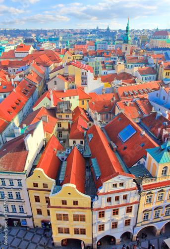 Deurstickers Praag Prague vue de la tour de l'hôtel de ville