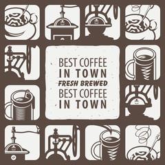 Fototapeta set of logo for hot drinks tea and coffee