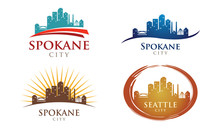 Cityscapes Skylines Of Spokane City Silhouette Logo Template Collection