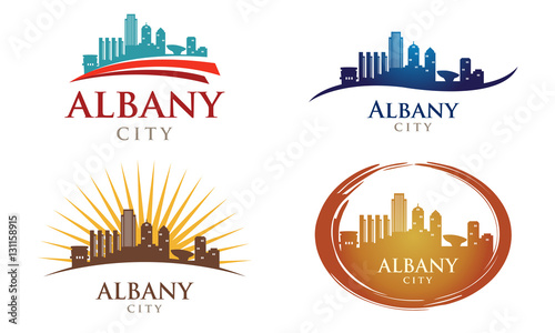 Fotografie, Obraz  Cityscapes Skylines of Albany City Silhouette Logo Template Collection