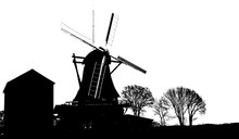 Realistic Silhouettes Of Windmills Isolated On White