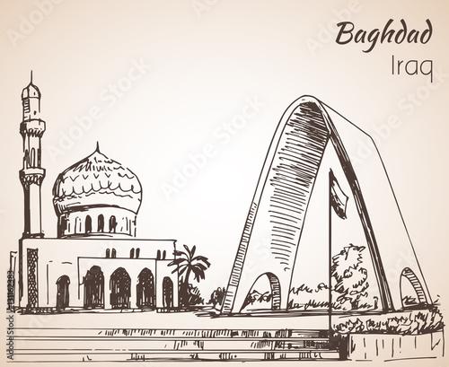 Fotografija  Baghdad cityscape mosque - Iraq. Sketch.
