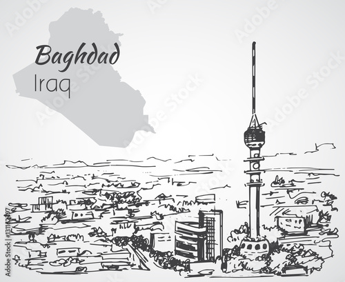 Photo  Baghdad cityscape - Iraq. Sketch.