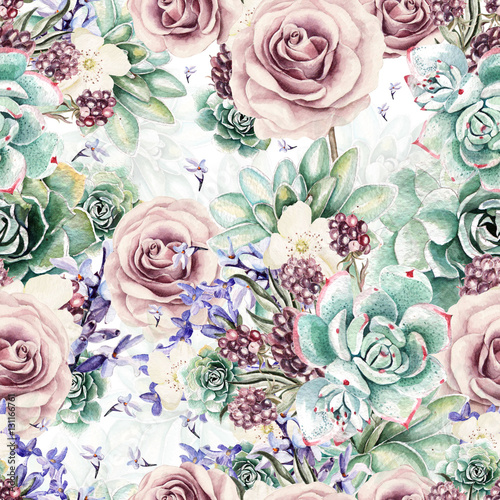 beautiful-watercolor-pattern-with-succulents-and-lavender-rose-blackberries-illustrations