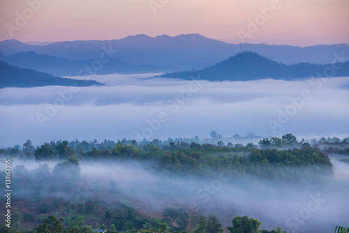 Fotobehang Bergen Sunrise and sea of clouds over Pai District Mae Hong Son, THAILAND. View from Yun Lai Viewpoint is located about 5 km to the West of Pai town centre above the Chinese Village.