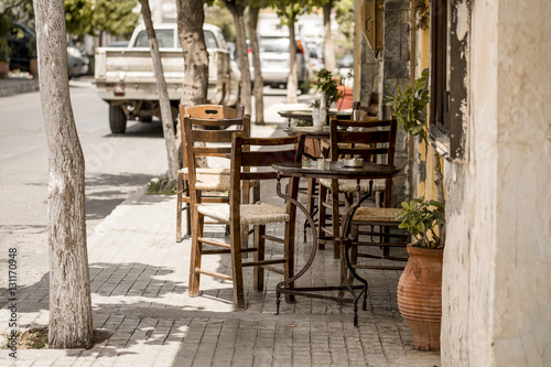 Photo sur Toile Drawn Street cafe Impressions from Crete in Summer