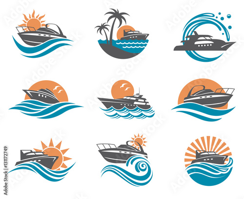 Obraz na płótnie collection of speedboat and yacht icons on waves
