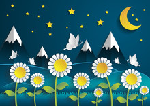 Nighttime Sunflower Field With Summer Season.paper Art Style.