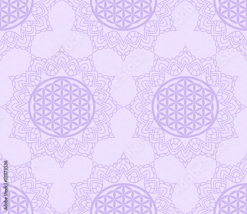 Seamless Pattern With A Purple Symbol Of The Flower Of Life In The