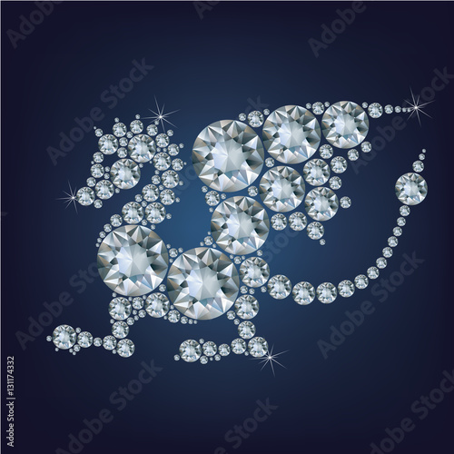 Fotografia  Happy new year 2024 creative greeting card with Dragon made up a lot of diamonds