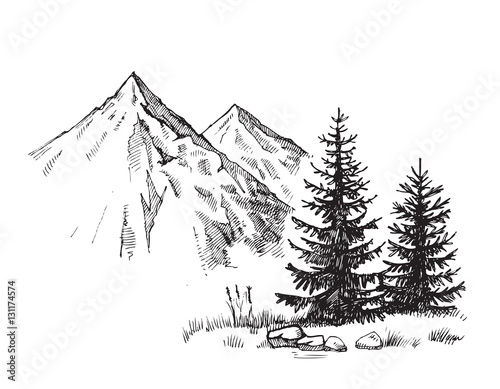 mountain landscape vector Fototapeta