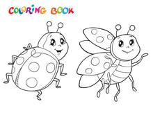 Coloring Book With Ladybug. Ve...