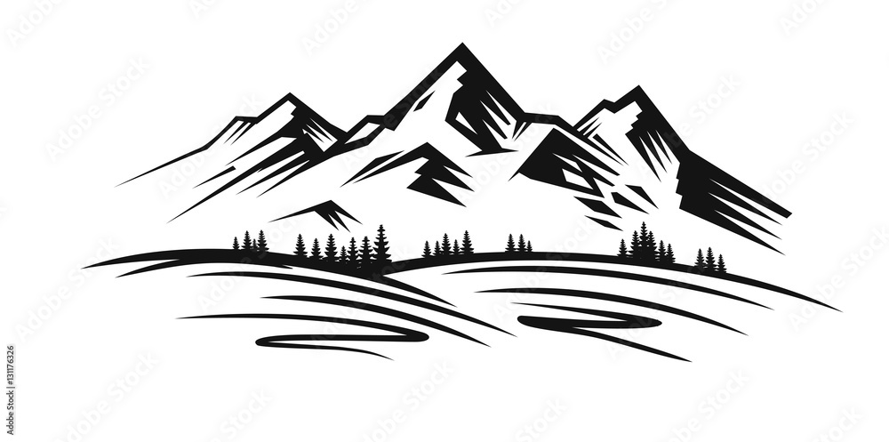 Fototapety, obrazy: Mountain vector black
