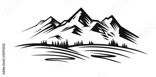 Fototapeta Mountain vector black obraz