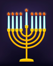 Happy Hanukkah, Jewish Holiday. Golden Menorah With Burning Candles. Vector Illustration.