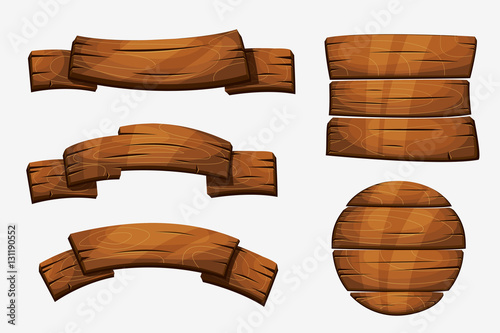 Fototapeta Cartoon wooden plank signs. Wood banner vector elements isolated on white background obraz
