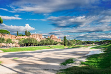 Circus Maximus - Roman Famous Ruins In Rome At Sunny Summer Day, Italy