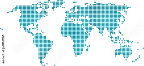 Fotobehang Wereldkaart Square shape world map on white background, vector illustration.