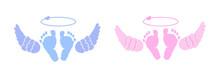 Twin Baby. Baby Girl, Boy. Angel's Wings Background