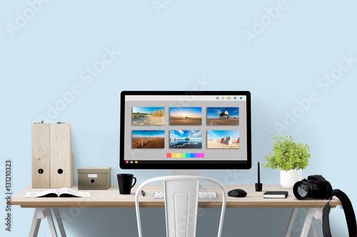 Fotografie, Obraz  Bildbearbeitung - Monitor und Equipment am Arbeitsplatz - Textfreiraum