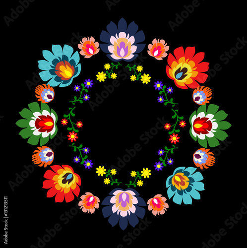 Fotografija  Round Polish folk decoration vector