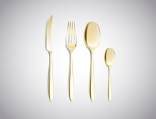 Cutlery Set Of Golden Forks Spoons And Knifes Top View Isolated