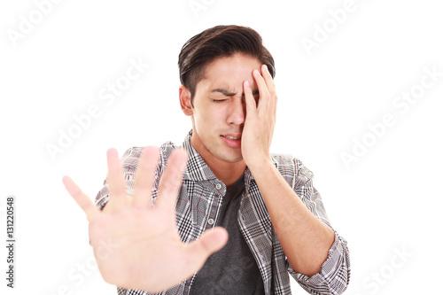 Fotografie, Obraz  禁止の意思表示をする男性